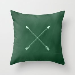 green crossed arrows Throw Pillow