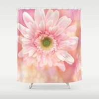 shabby chic Shower Curtains featuring Shabby Chic Daisy Flower by Kathy Fornal