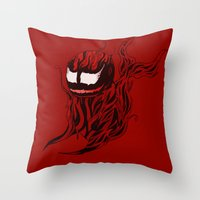 carnage Throw Pillows featuring Carnage Whale  by CoolBreezDesigns