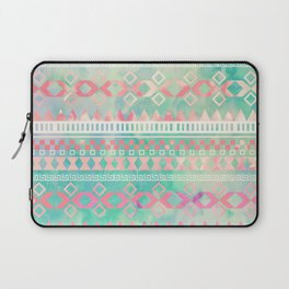 Girly Pink Turquoise Aztec Tied Dye Pastel Pattern | Instagram Effect Laptop Sleeve
