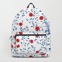 Floral pattern with blue leaves and red flowers Backpack
