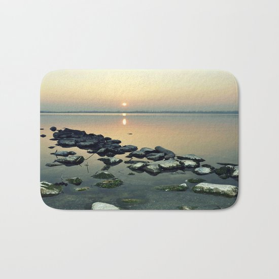 sunset sea stones Bath Mat