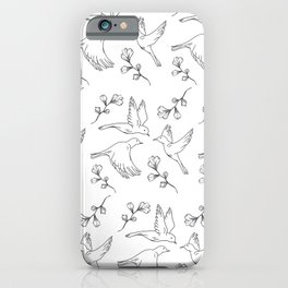 Little Birds With Leaves Pattern  iPhone Case