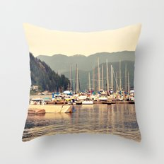 deep cove harbor Throw Pillow