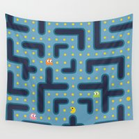 pacman Wall Tapestries featuring RETRO GAME by Vickn