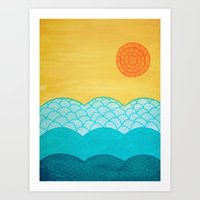 sunrise Art Prints featuring Sunrise by sinonelineman