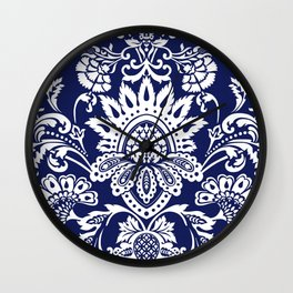 damask in white and blue Wall Clock