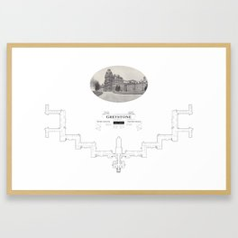 Greystone Kirkbride Hospital Blueprint Framed Art Print
