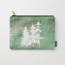 Hand painted forest green white watercolor pine trees Carry-All Pouch