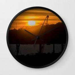 Aerial View Sunset Scene of Montevideo Uruguay Wall Clock