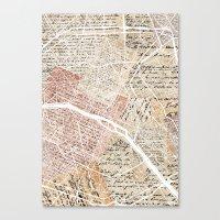 paris map Canvas Prints featuring Paris map by Mapsland