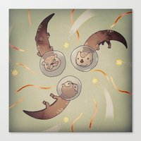otters Canvas Prints featuring Astro Otters by opertura