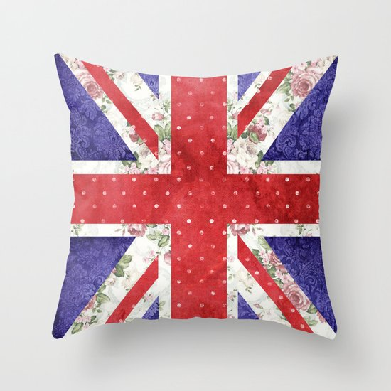 Vintage Red Polka Dots Floral UK Union Jack Flag and Blue Damask Throw Pillow