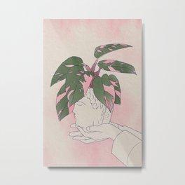 Philodendron Pink Princess Rare Tropical Houseplant Art Metal Print