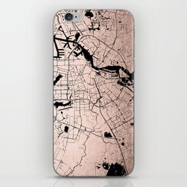 Amsterdam Rosegold on Black Street Map iPhone Skin