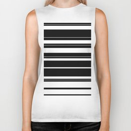 Black And White Stripes Biker Tank