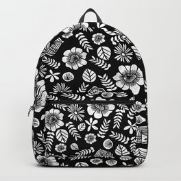 Linocut florals pattern minimal black and white home decor college dorm bohemian printmaking Backpack