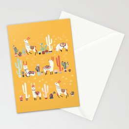 Happy llama with cactus in a pot Stationery Cards