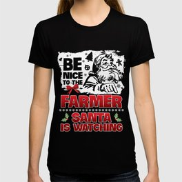 Christmas T-Shirt Be Nice To The Farmer Apparel Xmas Gift T-shirt