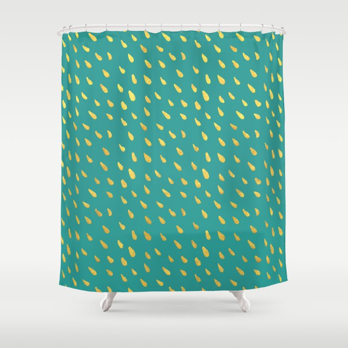 Little Gold Raindrops Shower Curtain By 16floor