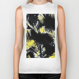 black and white palm leaves with yellow background Biker Tank