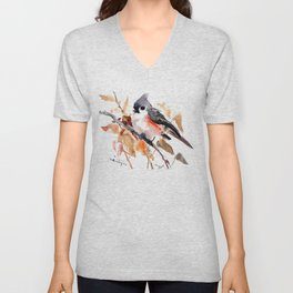 titmouse in the fall, Fall colors, birds and flowers bird art Unisex V-Neck