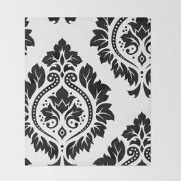 Decorative Damask Art I Black on White Throw Blanket