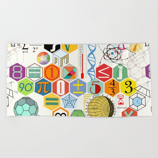 Math in color (white Background) Beach Towel