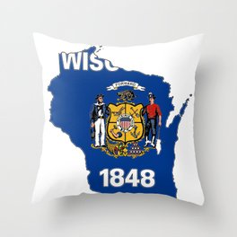 Wisconsin Map with State Flag Throw Pillow