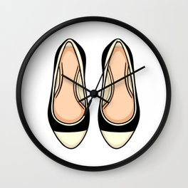 Beige And Black Ballet Flat Shoes Wall Clock