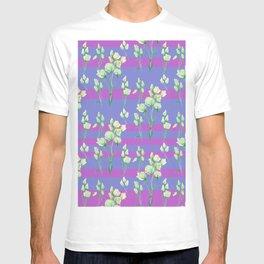 white roses in lavender stripes T-shirt