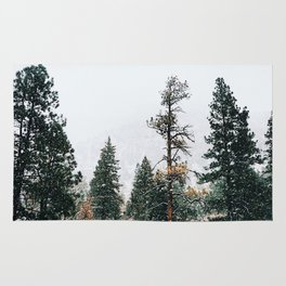 Snow Capped Pine Trees Rug