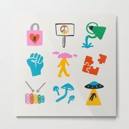 Aquarius Emoji Metal Print