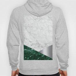 Geometric White Marble - Green Granite & Silver #999 Hoody