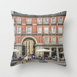 Relaxing cup in Plaza Mayor, Madrid Throw Pillow