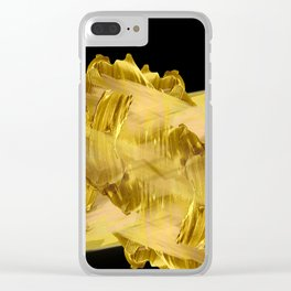"""Gold brushstrokes"" (Black) Clear iPhone Case"