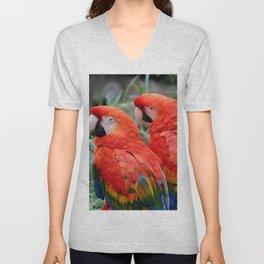 Scarlet Macaws Unisex V-Neck