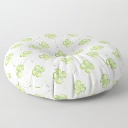 Four Leaf Clover Lucky Charm Pattern Watercolor Floor Pillow