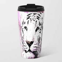 TIGER WHITE WITH CHERRY BLOSSOMS PINK Travel Mug