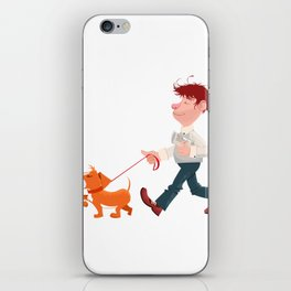 A man walking with his dog iPhone Skin