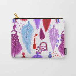 Macrame Feathers + Rainbows in Magenta Rainbow Carry-All Pouch