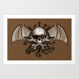 Airships and Tentacles SkullWheel Glyph Art Print