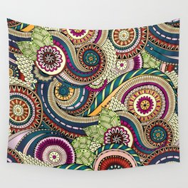 Abstract doodle floral pattern Wall Tapestry