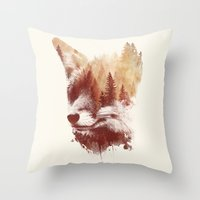 fox Throw Pillows featuring Blind fox by Robert Farkas