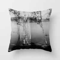 swimming Throw Pillows featuring swimming  by Lydia Brodde
