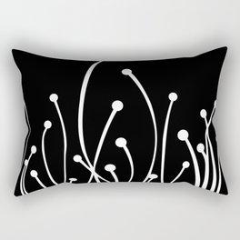 Floral Modern Black and White Rectangular Pillow