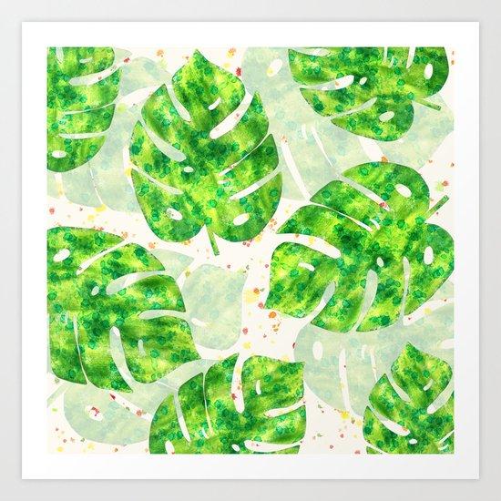 Tropical Monstera Leaves Unique Pattern Art Print