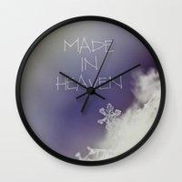 heaven Wall Clocks featuring HEAVEN by Monika Strigel