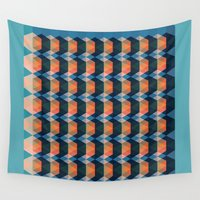 geo Wall Tapestries featuring geo  by Little Things Studio