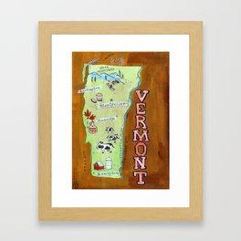 VERMONT map Framed Art Print